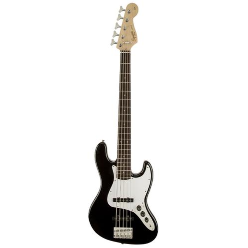 Squier Affinity 5-String Jazz Bass Guitar, Maple FB, Black