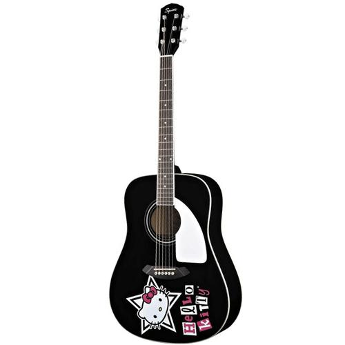 Squier Hello Kitty Dreadnought Acoustic Guitar, Black